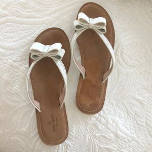 White Glitter Bow Kate Spade Flip Flops